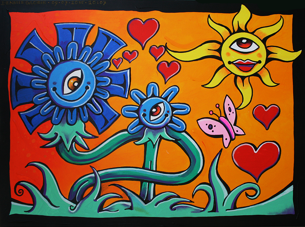 Two Flowers and a Butterfly - Dennis Glorie